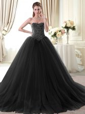 Hot Sale Black Ball Gowns Tulle Sweetheart Sleeveless Beading Floor Length Lace Up Sweet 16 Dresses