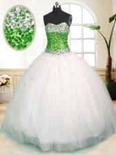 Modern Beading Quinceanera Gown White Zipper Sleeveless Floor Length
