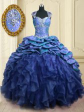 Pick Ups With Train Blue Quinceanera Dresses Sweetheart Cap Sleeves Brush Train Lace Up