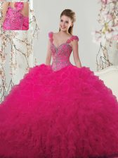 Elegant Straps Hot Pink Tulle Lace Up Sweet 16 Dress Sleeveless Floor Length Beading and Ruffles and Hand Made Flower