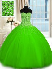 Ball Gowns Beading Vestidos de Quinceanera Lace Up Tulle Sleeveless Floor Length