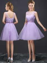 Scoop Organza Sleeveless Mini Length Dama Dress for Quinceanera and Lace