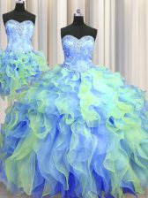 Beautiful Three Piece Sweetheart Sleeveless Organza Sweet 16 Quinceanera Dress Beading and Appliques and Ruffles Lace Up