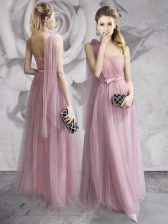Adorable One Shoulder Lavender Empire Ruching and Bowknot and Hand Made Flower Dress for Prom Lace Up Tulle Sleeveless Floor Length