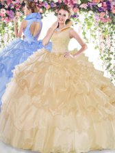 Exceptional Ruffled Floor Length Champagne Sweet 16 Quinceanera Dress High-neck Sleeveless Backless