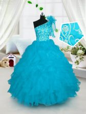 Great One Shoulder Floor Length Ball Gowns Sleeveless Turquoise Pageant Gowns For Girls Lace Up