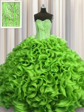 Visible Boning Quince Ball Gowns Military Ball and Sweet 16 and Quinceanera with Beading and Ruffles Sweetheart Sleeveless Lace Up