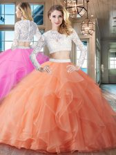 Scoop Orange Organza Zipper Quinceanera Dress Long Sleeves Brush Train Beading and Lace and Ruffles