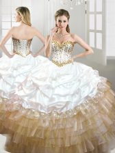 Hot Selling Pick Ups Sweetheart Sleeveless Lace Up Quince Ball Gowns Multi-color Organza and Taffeta
