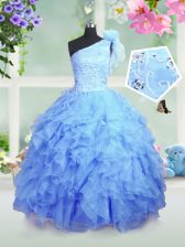 Graceful Organza One Shoulder Sleeveless Lace Up Beading and Ruffles Little Girls Pageant Dress in Baby Blue