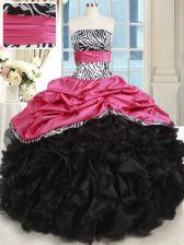 Organza and Taffeta Sleeveless Floor Length Ball Gown Prom Dress and Beading and Ruffles