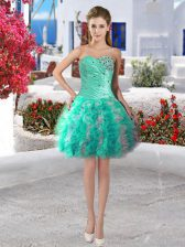 Excellent Organza Sleeveless Mini Length and Beading and Ruffles