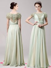 Low Price Scoop Short Sleeves Chiffon Floor Length Zipper Prom Gown in Apple Green with Appliques