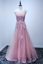 Scoop Sleeveless Lace Up Dress for Prom Pink Tulle
