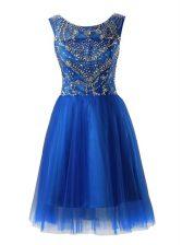Royal Blue Tulle Zipper Scoop Sleeveless Mini Length Dress for Prom Beading