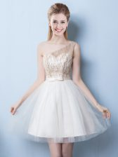 Fashion One Shoulder Sleeveless Sequins and Bowknot Lace Up Quinceanera Dama Dress