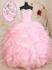 Beautiful Baby Pink Ball Gowns Beading and Ruffles Vestidos de Quinceanera Lace Up Organza Sleeveless Floor Length