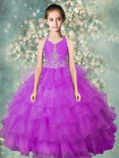 Lavender Halter Top Zipper Beading and Ruffled Layers Little Girls Pageant Gowns Sleeveless