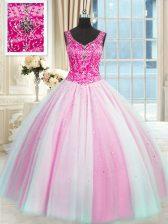 V-neck Sleeveless Tulle Sweet 16 Dresses Beading Lace Up