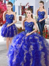 Three Piece Blue Sweetheart Lace Up Beading Sweet 16 Dresses Sleeveless