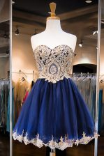 Admirable Knee Length Side Zipper Dress for Prom Royal Blue for Prom and Party with Beading