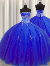 Puffy Skirt Tulle Sweetheart Sleeveless Lace Up Beading and Appliques 15 Quinceanera Dress in Royal Blue