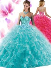 Teal Sleeveless Floor Length Beading and Ruffles Lace Up 15th Birthday Dress