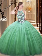 Simple Sleeveless Lace Up Floor Length Lace and Appliques Sweet 16 Dress