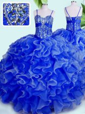 Blue Sleeveless Floor Length Beading and Ruffles Lace Up 15 Quinceanera Dress