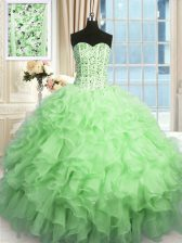 Apple Green Organza Lace Up Quinceanera Gowns Sleeveless Floor Length Beading and Ruffles