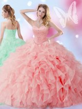 Fancy Ball Gowns Quinceanera Gown Watermelon Red Sweetheart Organza Sleeveless Floor Length Lace Up