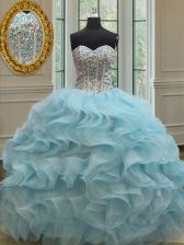 Sequins Baby Blue Sleeveless Organza Lace Up Sweet 16 Quinceanera Dress for Military Ball and Sweet 16 and Quinceanera