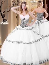 Clearance Sleeveless Floor Length Ruffles Lace Up Vestidos de Quinceanera with White
