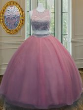 Ideal Scoop Sleeveless 15 Quinceanera Dress Floor Length Ruffled Layers and Sashes ribbons Pink Tulle