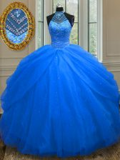 Halter Top Sleeveless Tulle Floor Length Lace Up Quince Ball Gowns in Royal Blue with Beading