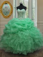 Pick Ups Ball Gowns Sweet 16 Dress Apple Green Strapless Organza Sleeveless Floor Length Lace Up