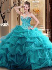 Clearance Floor Length Teal Ball Gown Prom Dress Sweetheart Sleeveless Zipper