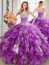 Best Sweetheart Sleeveless Sweet 16 Dress Floor Length Beading and Ruffles and Sequins Purple Organza
