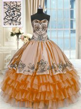 Cute Rust Red Lace Up Quinceanera Dresses Beading and Embroidery and Ruffled Layers Sleeveless Floor Length