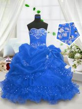 Blue Ball Gowns Sweetheart Sleeveless Organza Floor Length Lace Up Beading and Ruffled Layers and Pick Ups Little Girls Pageant Dress