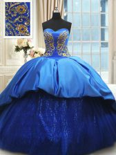Wonderful Satin Sweetheart Sleeveless Court Train Lace Up Beading and Embroidery Quince Ball Gowns in Royal Blue