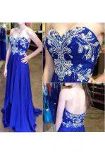Royal Blue Sweetheart Neckline Beading Prom Evening Gown Sleeveless Zipper