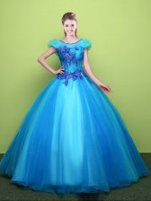 Hot Sale Baby Blue Quinceanera Gowns Military Ball and Sweet 16 and Quinceanera with Appliques Scoop Short Sleeves Lace Up