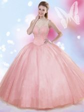 Extravagant Sleeveless Tulle Floor Length Lace Up Sweet 16 Dresses in Watermelon Red with Beading