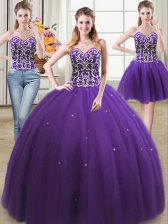 Three Piece Sleeveless Floor Length Beading Lace Up Sweet 16 Quinceanera Dress with Purple
