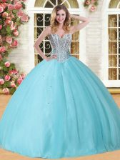 Baby Blue Lace Up Quinceanera Gown Beading Sleeveless Floor Length