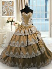 Chic Beading and Appliques and Ruffled Layers 15th Birthday Dress Brown Lace Up Sleeveless With Train Court Train