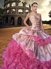 Hot Sale Sleeveless Organza With Train Court Train Lace Up Sweet 16 Dresses in Pink And White with Embroidery and Ruffles
