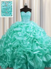 Decent Aqua Blue Lace Up Sweetheart Beading and Pick Ups Quinceanera Gowns Organza Sleeveless Court Train