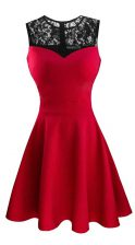 Hot Selling Red A-line Scoop Sleeveless Satin Tea Length Zipper Lace Dress for Prom